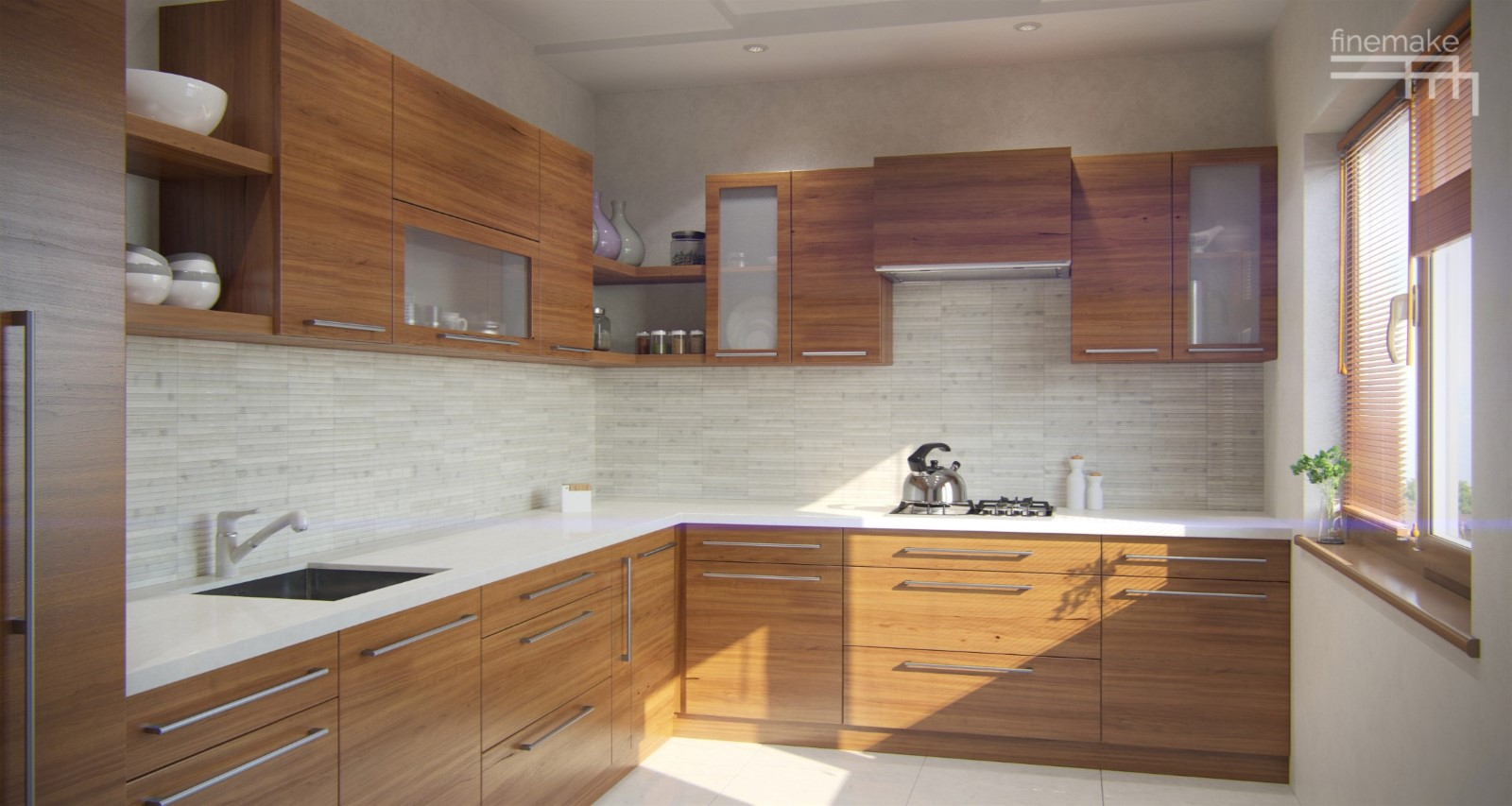 Avesso l shaped kitchen for Square shaped kitchen designs